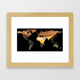 World Map Silhouette - Cheeseburger Framed Art Print