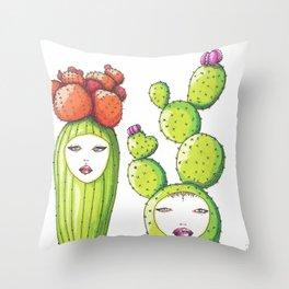 Succulent Ladies Throw Pillow