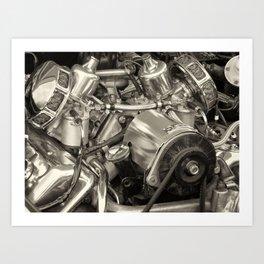 metal - vintage 1960s vintage daimler sports car engine Art Print