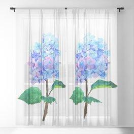 blue purple hydrangea Sheer Curtain