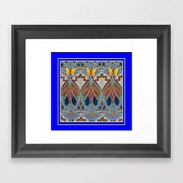 Ornate blue & Yellow Art Nouveau Butterfly Red Designs Framed Art Print