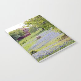 Old Red Barn and Rolling Bluebonnet Hills Notebook