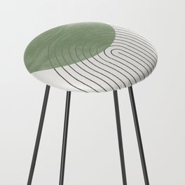 Green Moon Shape Counter Stool