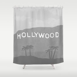 Hollywood Sign Black and White Grey Shower Curtain