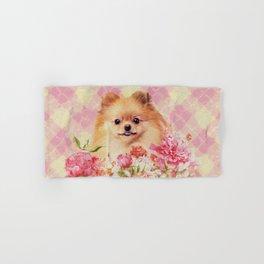 Cute Pomeranian German Spitz wiht Flowers Hand & Bath Towel