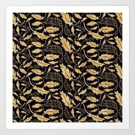 Art Deco Nouveaux Ornate Leaf Pattern Art Print