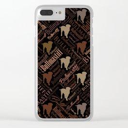 Bullmastiff Dog Word Art pattern Clear iPhone Case