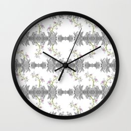 Floral Collage Pattern Wall Clock