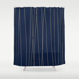 Navy Gold Stripes Shower Curtain
