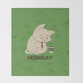 Monday Cat Throw Blanket