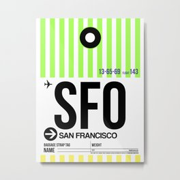 SFO San Francisco Luggage Tag 3 Metal Print