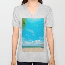 tropical island luxury beach summer ocean palm trees sand seascape summer travel deckchairs on the beach Unisex V-Neck