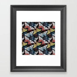 Beautiful graphic illustration of colorful butterflies Framed Art Print
