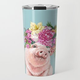 Flower Crown Baby Pig in Blue Travel Mug