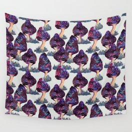 mushrooms mushroom galaxy space pattern Wall Tapestry