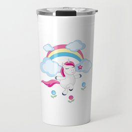 little unicorn and rainbow Travel Mug