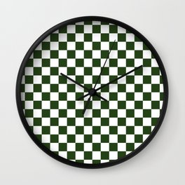 Large Dark Forest Green and White Check Squares Wall Clock