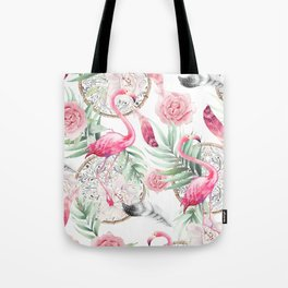 Flowered boho with flamingos Tote Bag