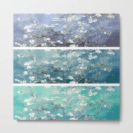 Van Gogh : Almond Blossoms Turquoise Teal Steel Blue Panel Art Metal Print