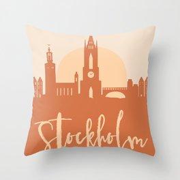 STOCKHOLM SWEDEN CITY SUN SKYLINE EARTH TONES Throw Pillow