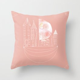 Sailing House Throw Pillow