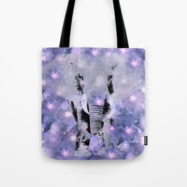 ELEPHANT AND LILAC PURPLE VIOLET BLOSSOMS Tote Bag