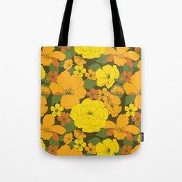 Orange & Yellow Lilies Retro Floral Pattern Tote Bag