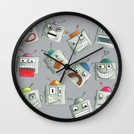 Emotional Robots Hand Drawn Repeat Pattern Wall Clock