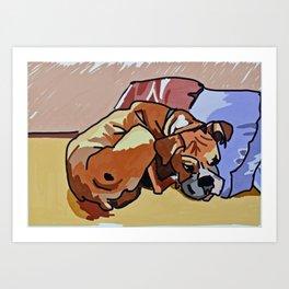 Abby Rests Boxer Dog Portrait Art Print