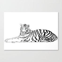 Tiger, black & white Canvas Print