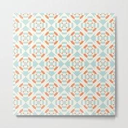 Simple geometric stripe flower orange and light blue Metal Print