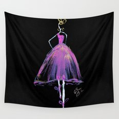 Hot Pink Fashion Illustration Wall Tapestry