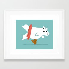 You Lift Me Up - Polar bear doing ballet Framed Art Print