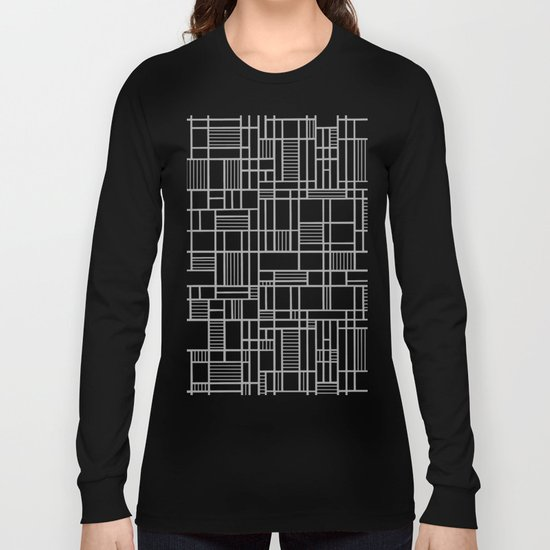 Map Lines Silver Long Sleeve T-shirt