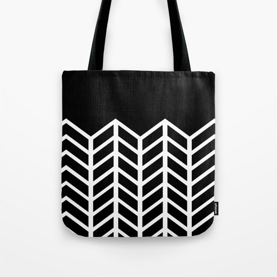 BLACK LACE CHEVRON Tote Bag