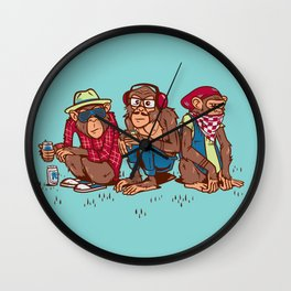Three Wise Hipster Monkeys Wall Clock