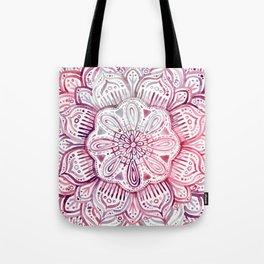Burgundy Blush Watercolor Mandala Tote Bag