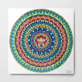 Tillie Mandala Colored Pencil and Ink Illustration by Imaginarium Creative Studios Metal Print