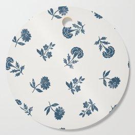 Lino print blue floral Cutting Board