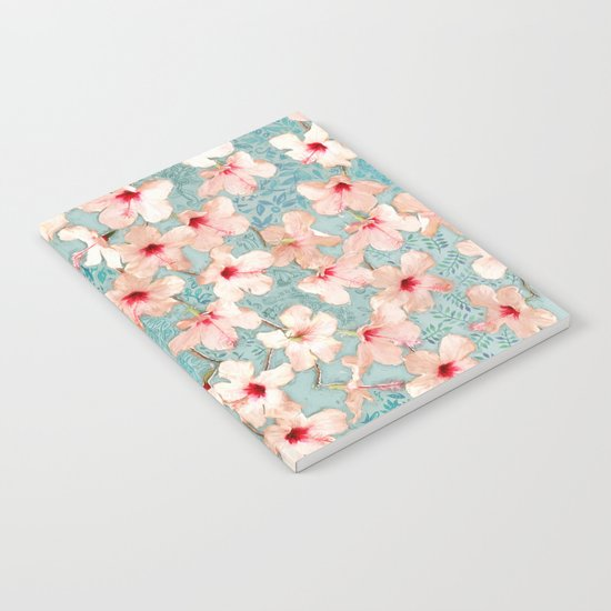 Shabby Chic Hibiscus Patchwork Pattern in Peach & Mint Notebook