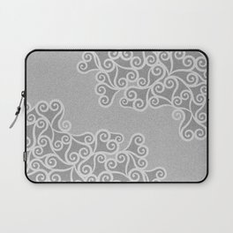 Comtemporary Abstract Leaves Grey Pattern Laptop Sleeve