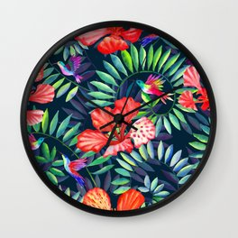 Dark tropical red flowers and hummingbirds Wall Clock