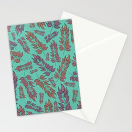 Pink and Peach Leaf Pattern Stationery Cards