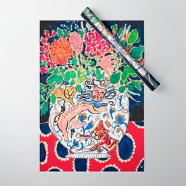Lion, Cheetah and Tiger Still Life - Wildflowers in Wild Cat Vase After Matisse Wrapping Paper