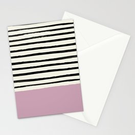 Dusty Rose & Stripes Stationery Cards