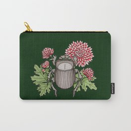 Beetle with Chrysanthemum - Dark Green Carry-All Pouch