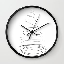 """Christmas Collection"" - Minimal One Line Christmas Tree Print Wall Clock"