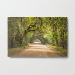 Charleston SC Dirt Road Forest Botany Bay Plantation Spanish Moss Cottage Wall Art Print Metal Print