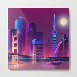 Synthwave Neon City #1 Metal Print