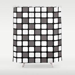 BLACK GREY AND WHITE RECTANGLE TILE  {BASIcs JHD} Shower Curtain